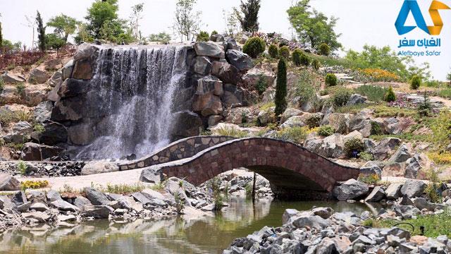 آبشار و پل پياده رو در پارك كوهسنگي مشهد