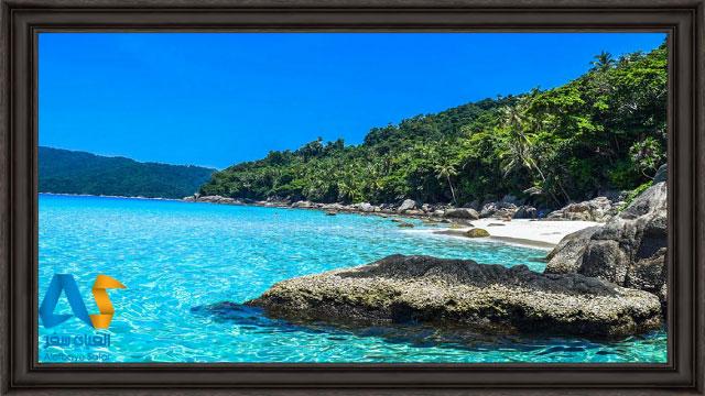 آب آبی فیروزه ای و درختان سرسبز در جزیره پرهنتیان مالزی