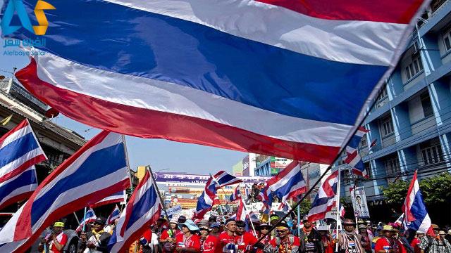 پرچم های برافراشته شده در روز ملی پرچم در تایلند