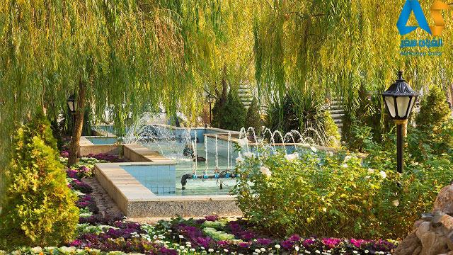 حوض و درختان باغ ملي مشهد
