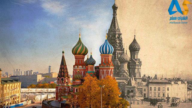 كليساي سنت باسيل قديمي و جديد مسكو روسيه در يك تصوير