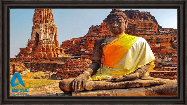 بناها و مجسمه بزرگ بودا در شهر قدیمی آیوتایا تایلند